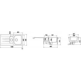 LAVELLO SCHOCK LITHOS D150 A  - 1,5 VASCHE CRISTALITE AVENA
