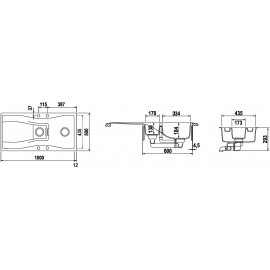 LAVELLO SCHOCK WATERFALL D150 A  - 1,5 VASCHE CRISTADUR POLARIS EXTRA WHITE