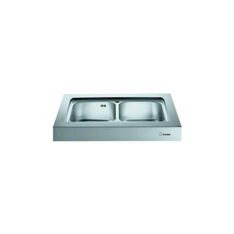 Blocco lavello da appoggio scholtes ep902 acciaio inox for Lavandino acciaio