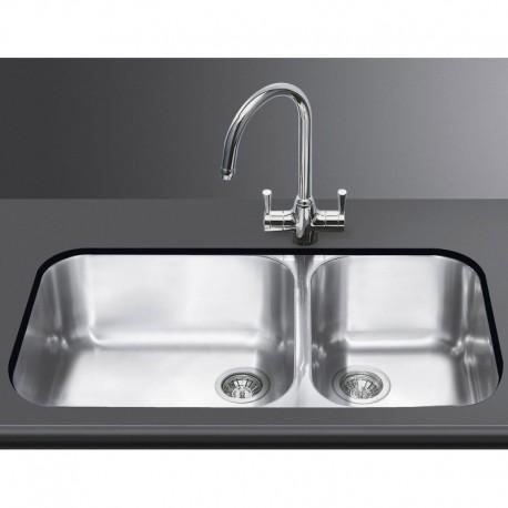 Lavello smeg sottotop um4530 2 vasche acciaio inox smeg for Lavelli cucina inox
