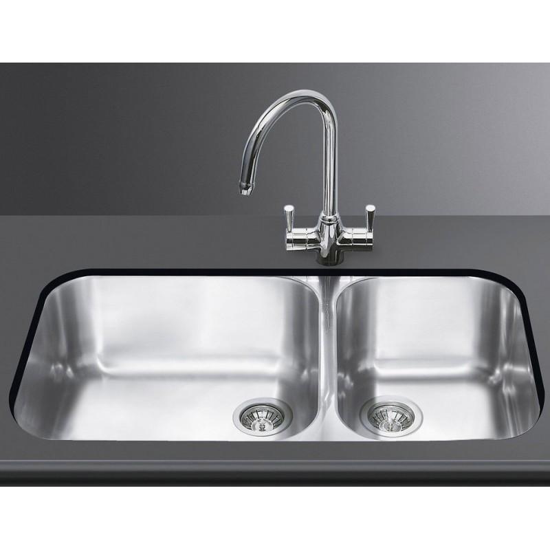 Lavello smeg sottotop um4530 2 vasche acciaio inox smeg - Lavandino doppia vasca cucina ...