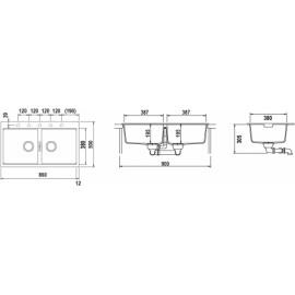LAVELLO SCHOCK HORIZONT N200 A  - 2 VASCHE CRISTADUR POLARIS EXTRA WHITE