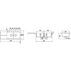 LAVELLO SCHOCK HORIZONT D200 A  - 2 VASCHE CRISTADUR NERO PURO