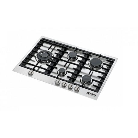 PIANO COTTURA STEEL SERIE GENESI GB7B-5 ACCIAIO INOX 75 CM Steel Cu...