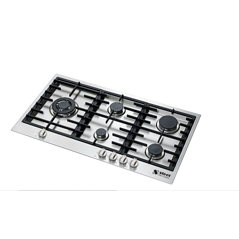 PIANO COTTURA STEEL SERIE GENESI GB9B-5 ACCIAIO INOX 90 CM Steel Cu...