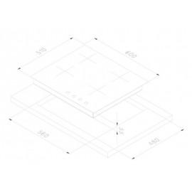 PIANO COTTURA SMALVIC LINEAR 60 PI-MF60 3GTC VS NERO GG VETRO e ALLUMINIO - 60 CM