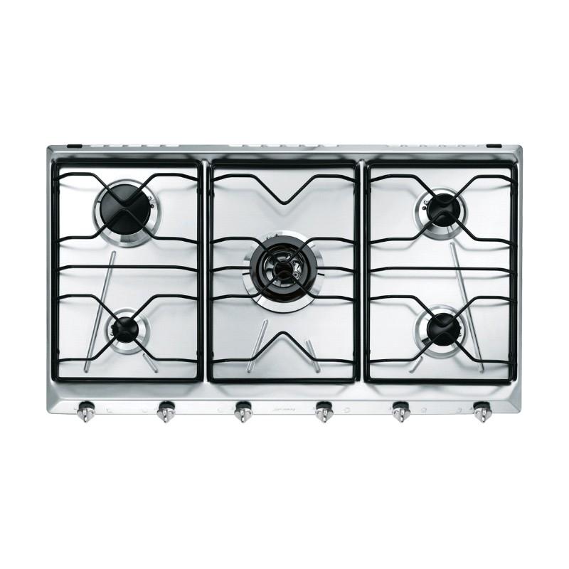 Piano cottura smeg srv596 5 linea contemporanea acciaio inox 90 cm - Elettrodomestici cucina a gas ...