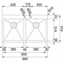 FRANKE PLANAR PPX 220 TL - 86X51 2 VASCHE ACCIAIO INOX SATINATO