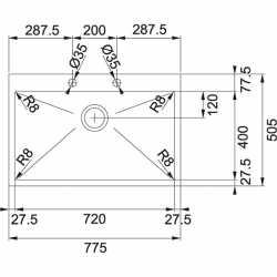 FRANKE PLANAR PEX 210-78 TL - 77x50 - 1 VASCA ACCIAIO INOX SATINATO