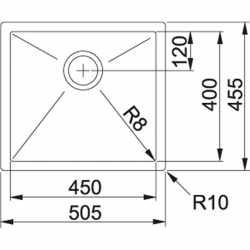 FRANKE PLANAR 8 PEX 210-51 -50x45 - 1 VASCA ACCIAIO INOX SATINATO
